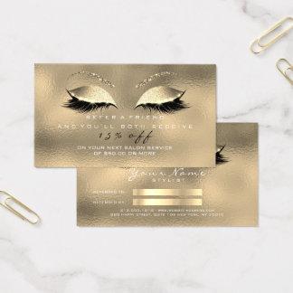 Mèches fascinantes en verre d'or de scintillement cartes de visite