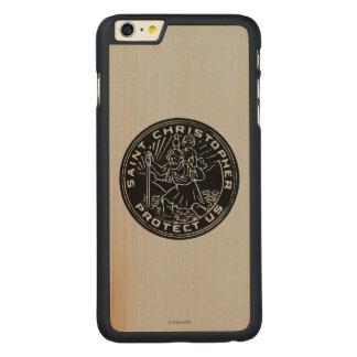 Médaille de Christopher de saint Coque Carved® En Érable Pour iPhone 6 Plus Case