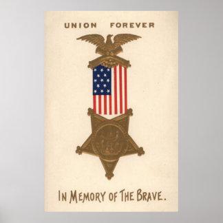 Médaille Eagle de guerre civile des syndicats de d Affiche