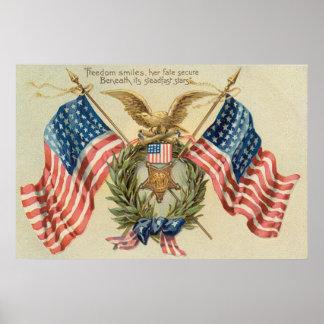 Médaille Eagle de guirlande de drapeau des USA Affiche