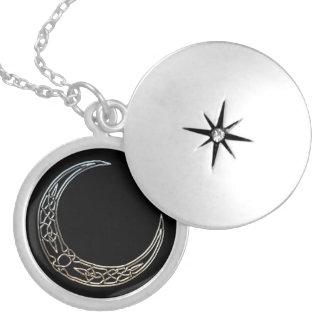 Médaillon Avec Fermoir Argent et croissant de lune de Celtic de noir