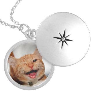 Médaillon Avec Fermoir Chat clignant de l'oeil - chat orange - les chats