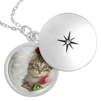Médaillon Avec Fermoir Chat de Noël - chat de chaton - chats mignons