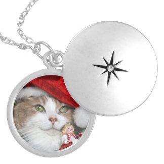 Médaillon Avec Fermoir Chat de Père Noël - chat de Noël - chatons mignons