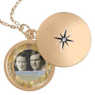 Médaillon Avec Fermoir cinquantième Souvenir d'or du cadre | de photo