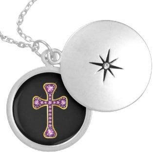 """Médaillon Avec Fermoir Croix chrétienne avec des pierres """"de quartz rose"""""""