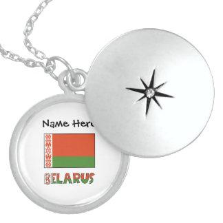 Médaillon Avec Fermoir Drapeau biélorusse et le Belarus avec le nom