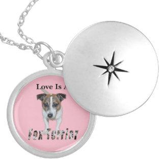 Médaillon Avec Fermoir L'amour est un Fox Terrier, rose