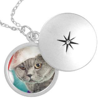 Médaillon Avec Fermoir Noël gris de chat - chat de Noël - chat de chaton