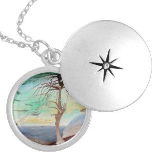 Médaillon Avec Fermoir Peinture de paysage isolée d'arbre de cèdre