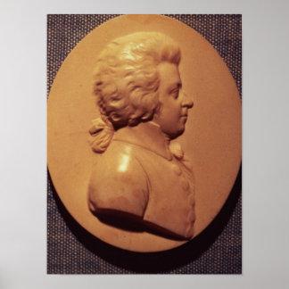 Médaillon de portrait de Wolfgang Amadeus Mozart Affiches
