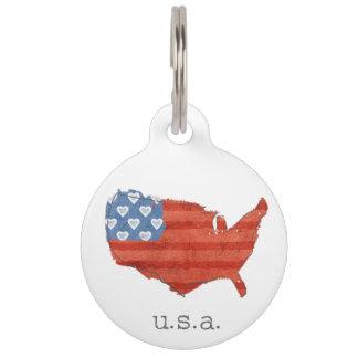 Médaillon Pour Animaux | americana mon coeur est dans la carte des