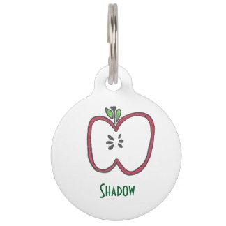 Médaillon Pour Animaux Apple rouge étiquettent