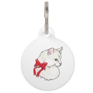 Médaillon Pour Animaux Arc rouge de chat blanc