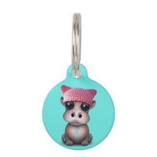Médaillon Pour Animaux Casquette de port de chat d'hippopotame mignon de