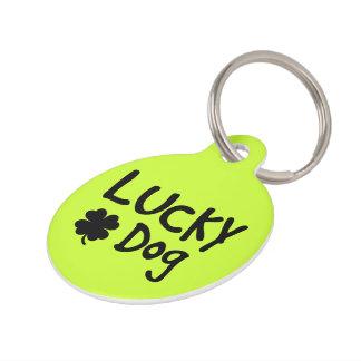 Médaillon Pour Animaux Coutume chanceuse de chien de shamrock vert