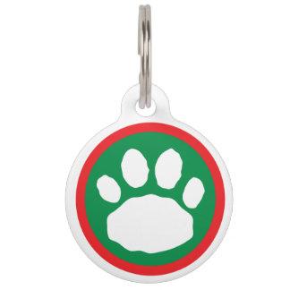Médaillon Pour Animaux Empreinte de patte rouge et vert de fête de Noël