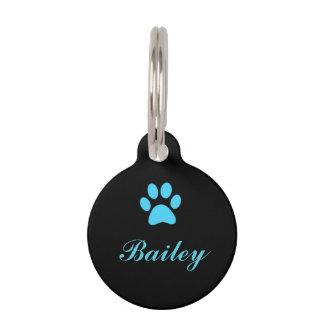 Médaillon Pour Animaux Étiquette bleue d'animal familier d'empreinte de