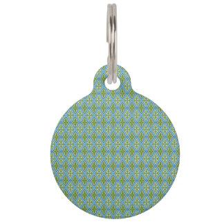 Médaillon Pour Animaux Étiquette bleue et verte d'animal familier