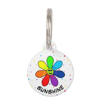 Médaillon Pour Animaux Étiquette d'animal familier de fleur d'arc-en-ciel