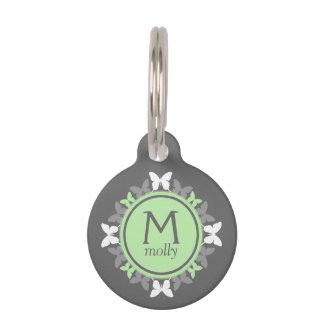 Médaillon Pour Animaux Étiquette de chien décorée d'un monogramme de
