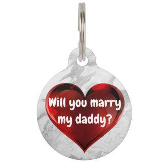 Médaillon Pour Animaux Étiquette de chien rouge de proposition de mariage