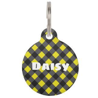 Médaillon Pour Animaux Étiquette jaune et noire élégante d'identification