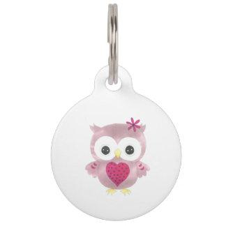 Médaillon Pour Animaux Étiquette rose mignonne customisée d'animal