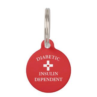 Médaillon Pour Animaux Étiquette vigilante médicale diabétique d'animal
