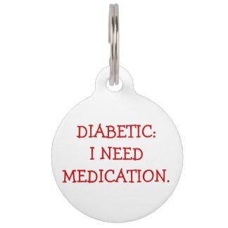 Médaillon Pour Animaux Étiquette vigilante médicale diabétique pour des