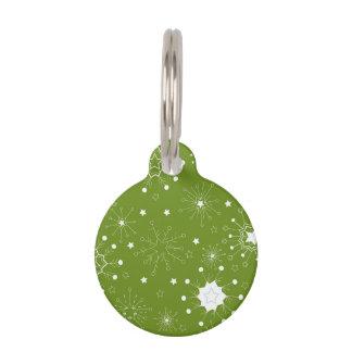 Médaillon Pour Animaux Flocons de neige verts de fête de vacances