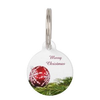 Médaillon Pour Animaux Fractale d'ornement et de sapin - Joyeux Noël