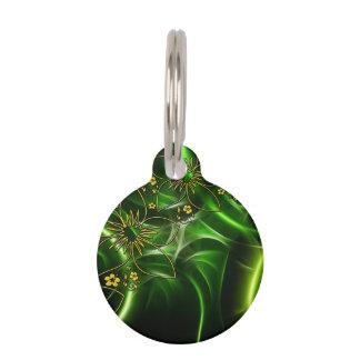Médaillon Pour Animaux Fractale florale verte au néon