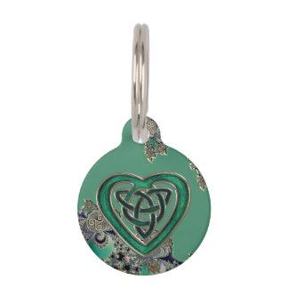 Médaillon Pour Animaux Fractale mystique celtique verte