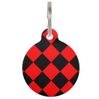 Médaillon Pour Animaux Grand Checkered de Diag - noir et rouge