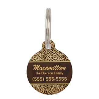 Médaillon Pour Animaux Guépard d'or et de Brown pour des animaux