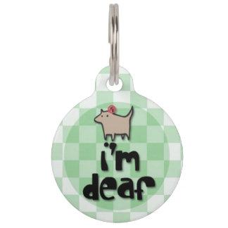 Médaillon Pour Animaux Je suis étiquette sourde d'identification d'animal