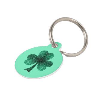 Médaillon Pour Animaux Le vert vert miroite turquoise de trèfle de
