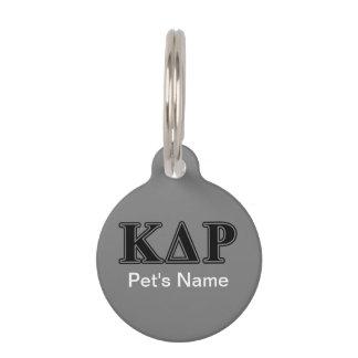 Médaillon Pour Animaux Lettres noires de thêta de Kappa de phi