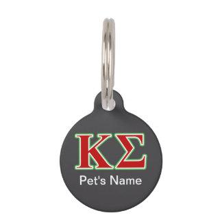 Médaillon Pour Animaux Lettres rouges et vertes de sigma de Kappa