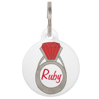 Médaillon Pour Animaux Mode rouge rouge de Bling de bijou d'anneau de
