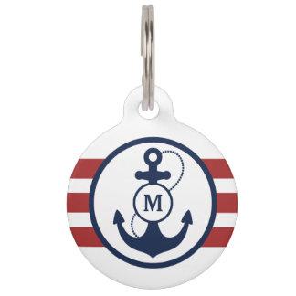 Médaillon Pour Animaux Monogramme nautique rouge