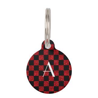 Médaillon Pour Animaux Monogramme rouge et scintillement noir checkered