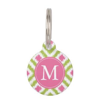 Médaillon Pour Animaux Motif vert et rose décoré d'un monogramme de