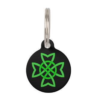 Médaillon Pour Animaux Noeud celtique vert irlandais