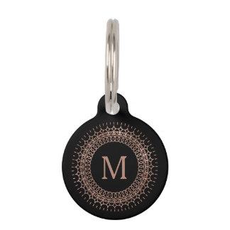Médaillon Pour Animaux Noir et monogramme rose d'initiale d'or de Faux