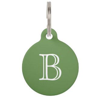 Médaillon Pour Animaux Nom blanc de monogramme de vert de mousse
