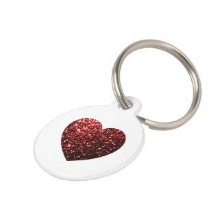Médaillon Pour Animaux Personnalisez le coeur rouge d'étincelles de