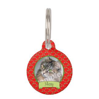 Médaillon Pour Animaux Photo mignonne de chat sur le motif rouge de