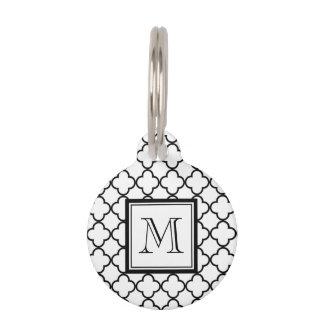 Médaillon Pour Animaux Quatrefoil noir et blanc, votre monogramme